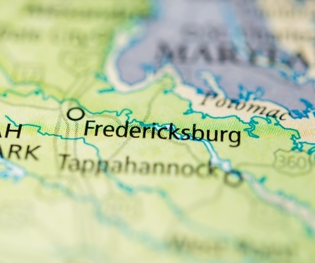 Fredericksburg VA on map